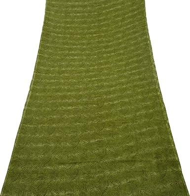 PEEGLI Mujer Indio Étnico Verde Vintage Vestido Seda Mezcla DIY Arte Paño Casual Vestir Pareo De Malasia Envolver Sari Floral Hermoso Saree: Amazon.es: ...