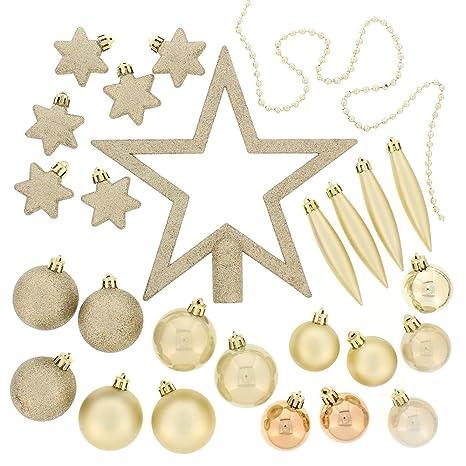 Christmas Ornament Set.Festive 50 Piece Assorted Christmas Ornament Set Light Gold