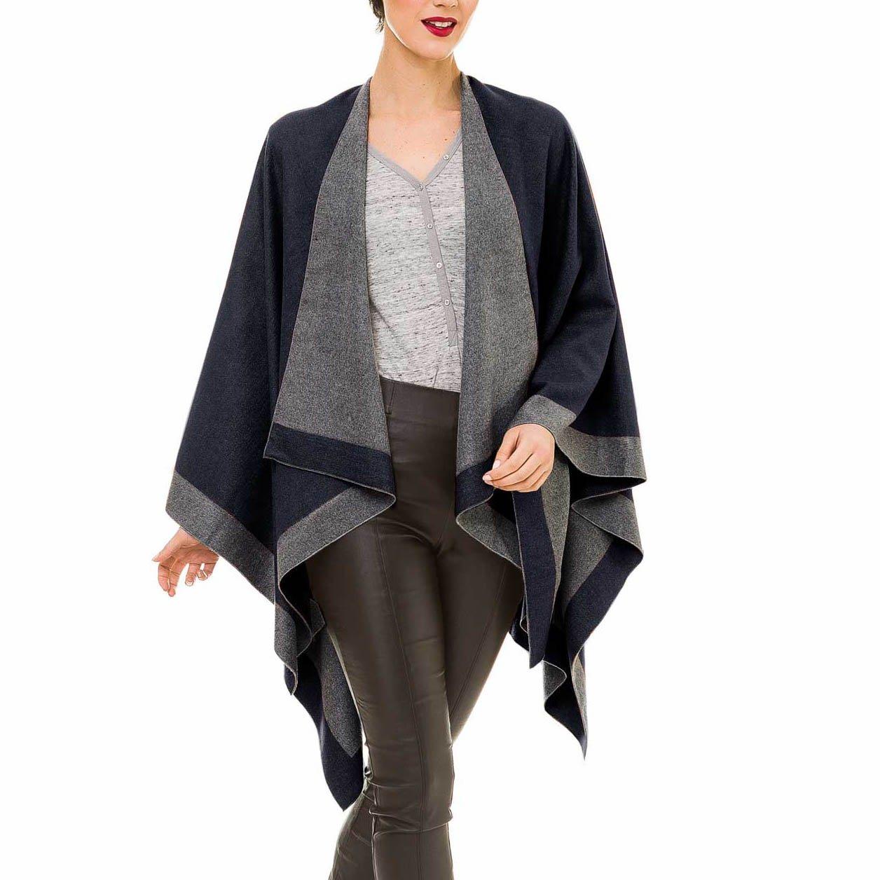Cardigan Poncho Cape: Women Elegant Gray Camel Cardigan Shawl Wrap Sweater Coat for Winter (Gray Navy)