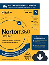 NEW Norton 360 Deluxe – Antivirus software for 5 Devices with Auto Renewal - Includes VPN, PC Cloud Backup & Dark Web...