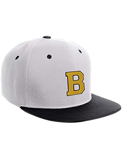 db625b4541982 Classic Snapback Hat w Custom A-Z Initial Raised Letters - White Black Hat  Black Gold Initial