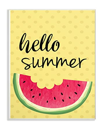 The Stupell Home Decor Collection Hello Summer Watermelon Wall Plaque Art,  10 X 15,