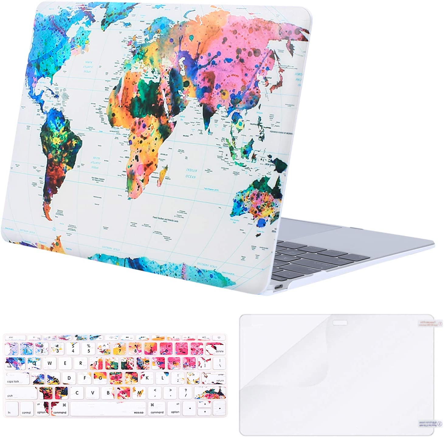 MOSISO MacBook 12 inch Case (Model A1534, Release 2017 2016 2015), Plastic Pattern Hard Shell Case & Keyboard Cover & Screen Protector Compatible with MacBook 12 inch with Retina Display, World Map