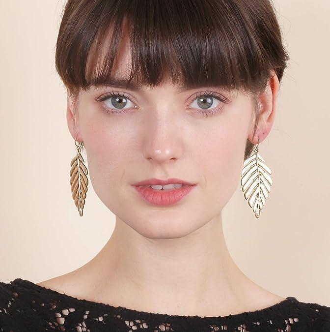 Antique Bronze Plated Leaf Earrings Bohemian Leaf Earrings Statement Earrings Festival Indie Earrings Czech Glass Flower Dangle Earrings