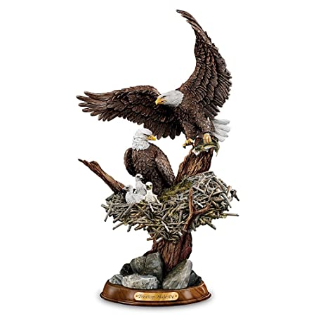 Bald Eagle Sculpture 10 25.4cm The Bradford Collection Treetop Majesty Handpainted Handcrafted Resin