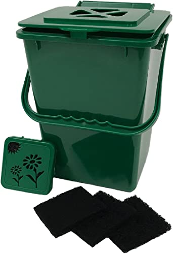 Sorbus Compost Bin, 1 Gallon STAINLESS STEEL