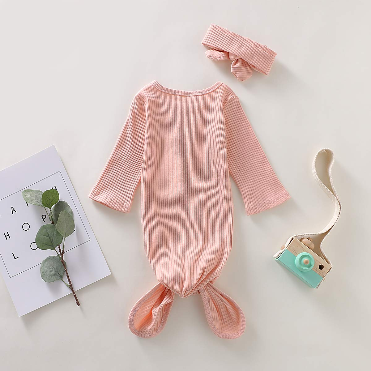 Noubeau Baby boy Girl Striped Cotton Sleeper Gowns with Cap Long Knotted Sleeping Bag Pajamas