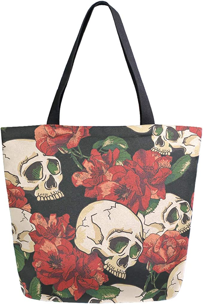 ZzWwR Mexican Sugar Skull Black Cats Floral Pattern Extra Large Canvas Beach Travel Reusable Grocery Shopping Tote Bag Portable Storage HandBag