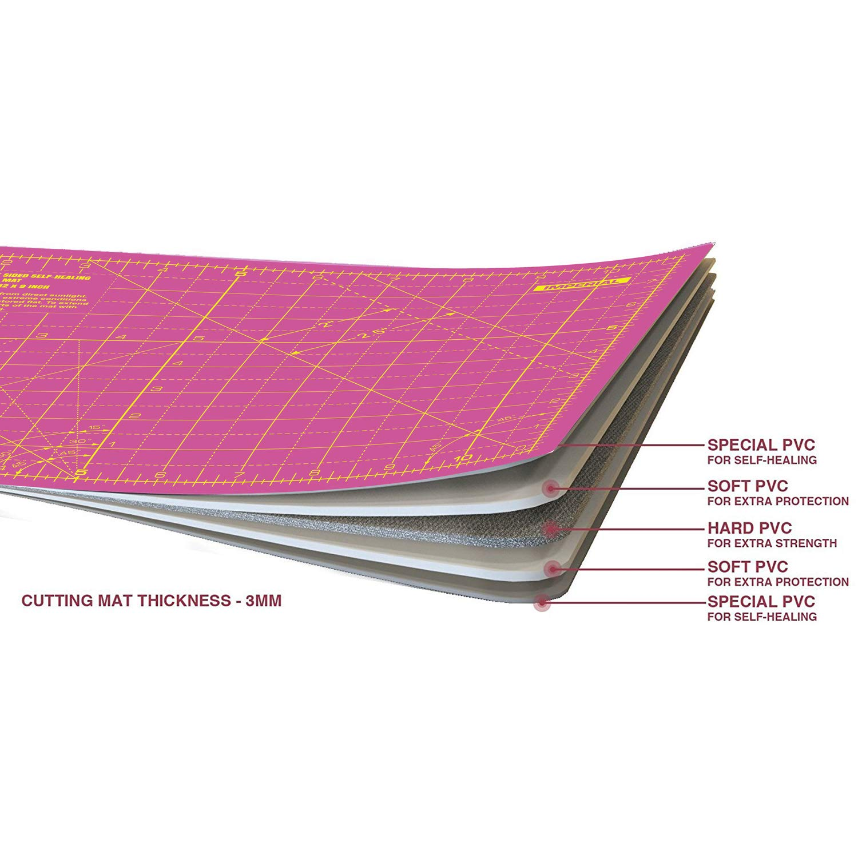 89 cm x 59 cm Super Rosa//Royal Purple ANSIO A1 de doble cara Autocuraci/ón 5 capas de tapete de corte Imperial//M/étrico 34 pulgadas x 22.5 pulgadas