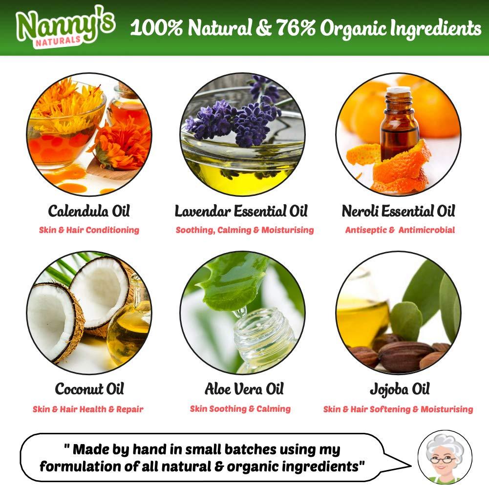 Champú y gel para el cuerpo para bebés completamente natural y orgánico | Lavanda y flor de azahar | Jabón 100% natural y 76% orgánico para bebés y niños: ...