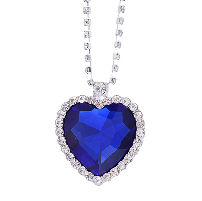 Edwardian Costumes – Cheap Halloween Costumes  Titanic Pretty HEART OF THE OCEAN Big Czech Blue CRYSTAL Pendant NECKLACE US Seller $9.50 AT vintagedancer.com