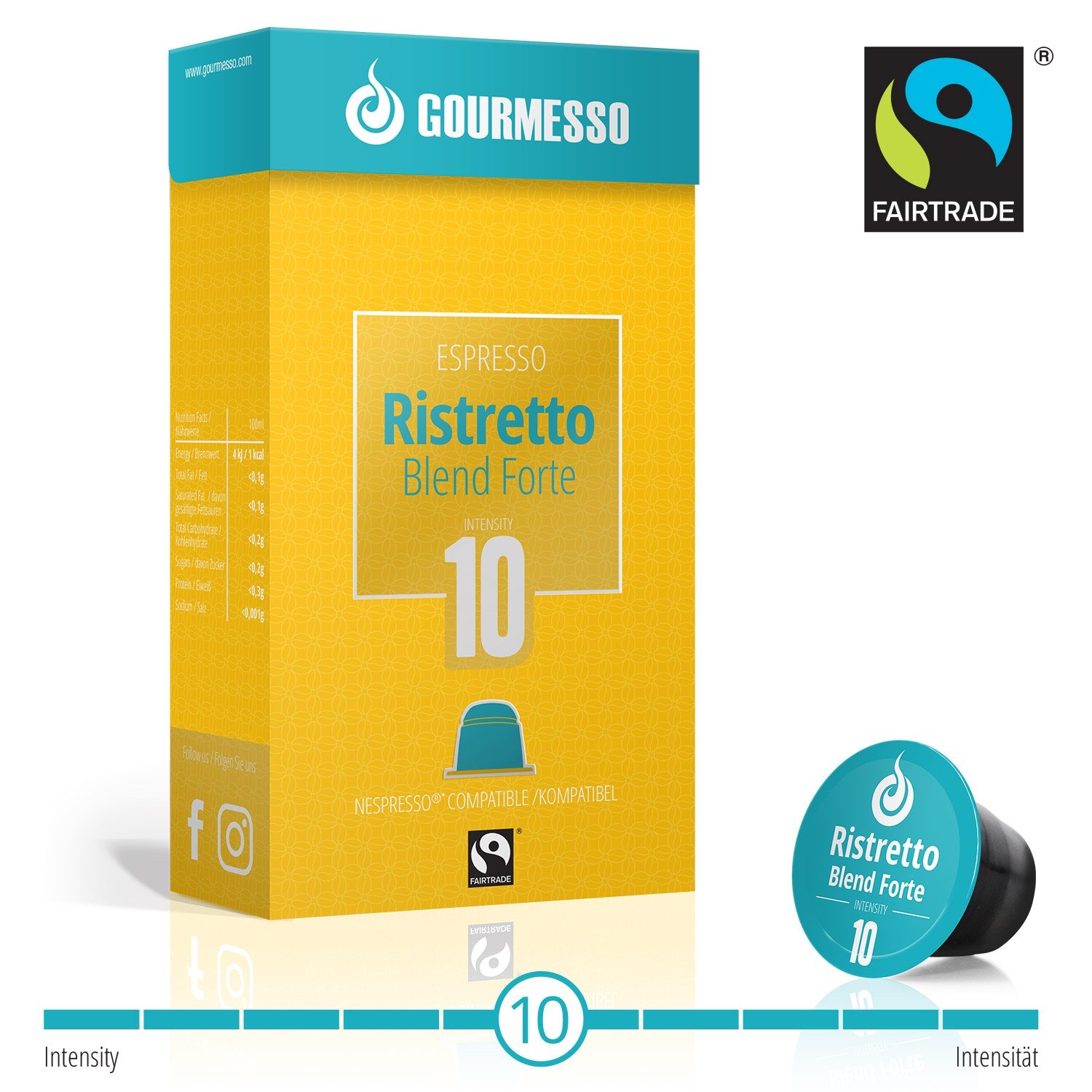 Gourmesso Ristretto Blend Forte - 50 Nespresso Compatible Coffee Capsules - Fair Trade