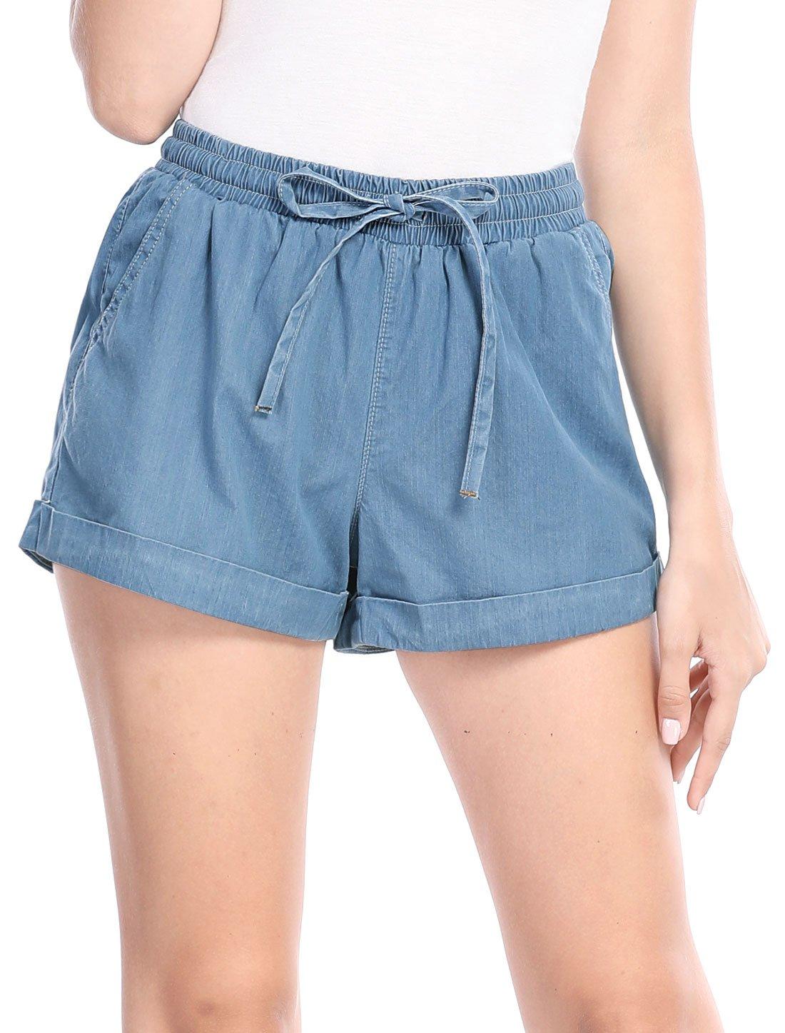 Allegra K Women's Elastic Drawstring Waist Rolled Cuffs Denim Shorts S Blue