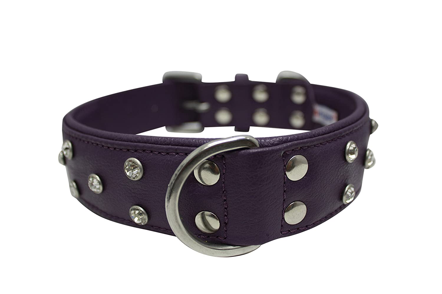 22 by 1.5-Inch Rhinestones Bling Leather Dog Collar, Wide, Padded, Double-Ply, Riveted Settings, 22  x 1.5 , Purple. Stainless Steel(Athens) Neck Size  16.5 -20
