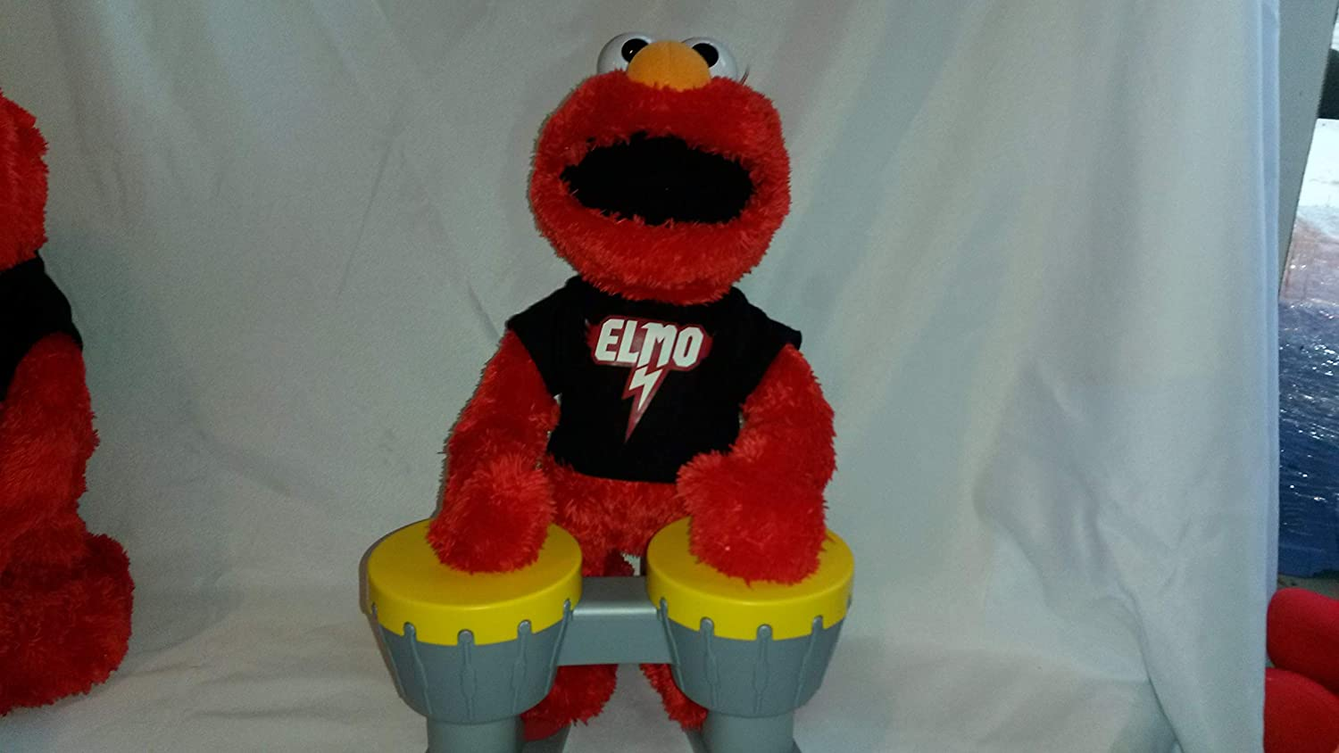 Elmo Let\'s Rock Elmo Animated Plush 14 Drum Set Included