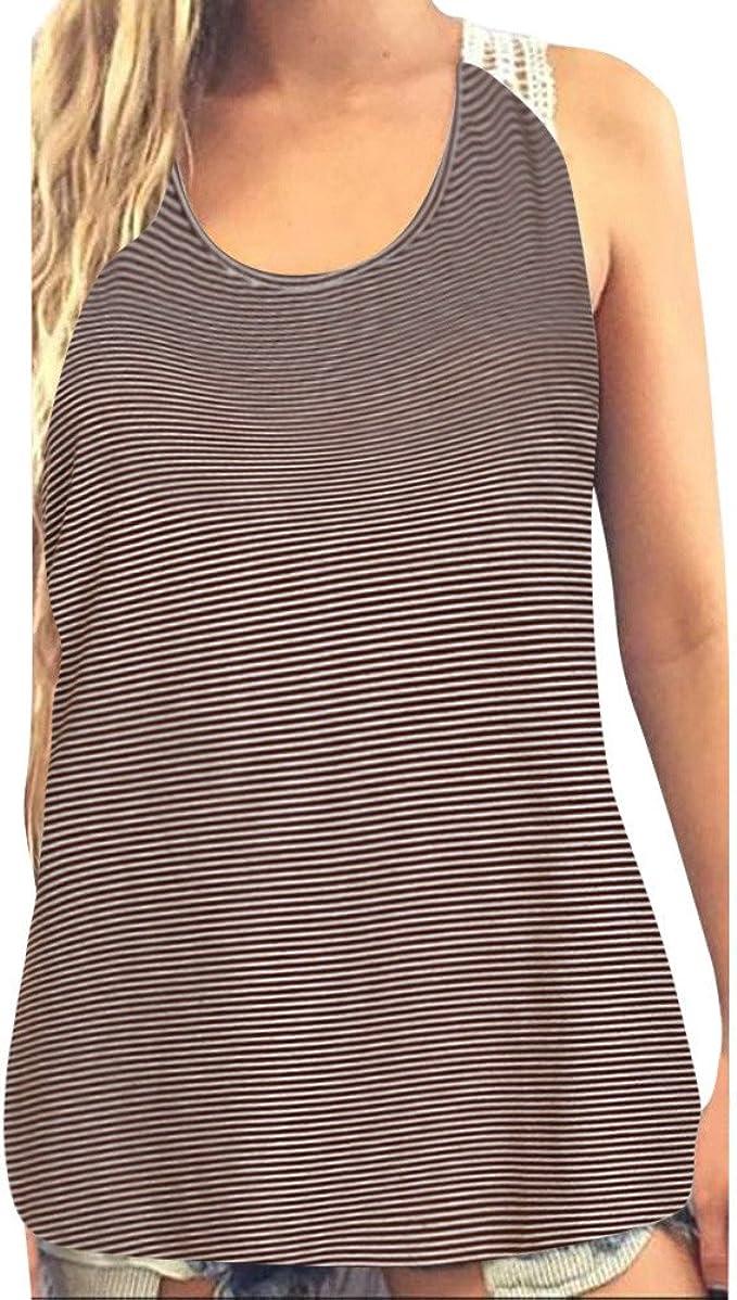 YEBIRAL Las Mujeres Verano Camiseta Tirantes de Encaje ...