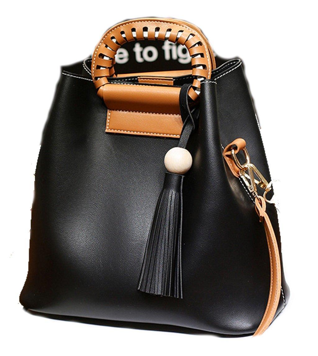 Casual Korean Style Leather Tote Shoulder Handbag Satchel & Purse Combo for Women (Black)