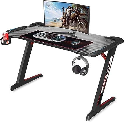 per PC e Ufficio Completa di Accessori 120x61x73cm Piushopping Scrivania Gaming Desk con LED Ergonomica