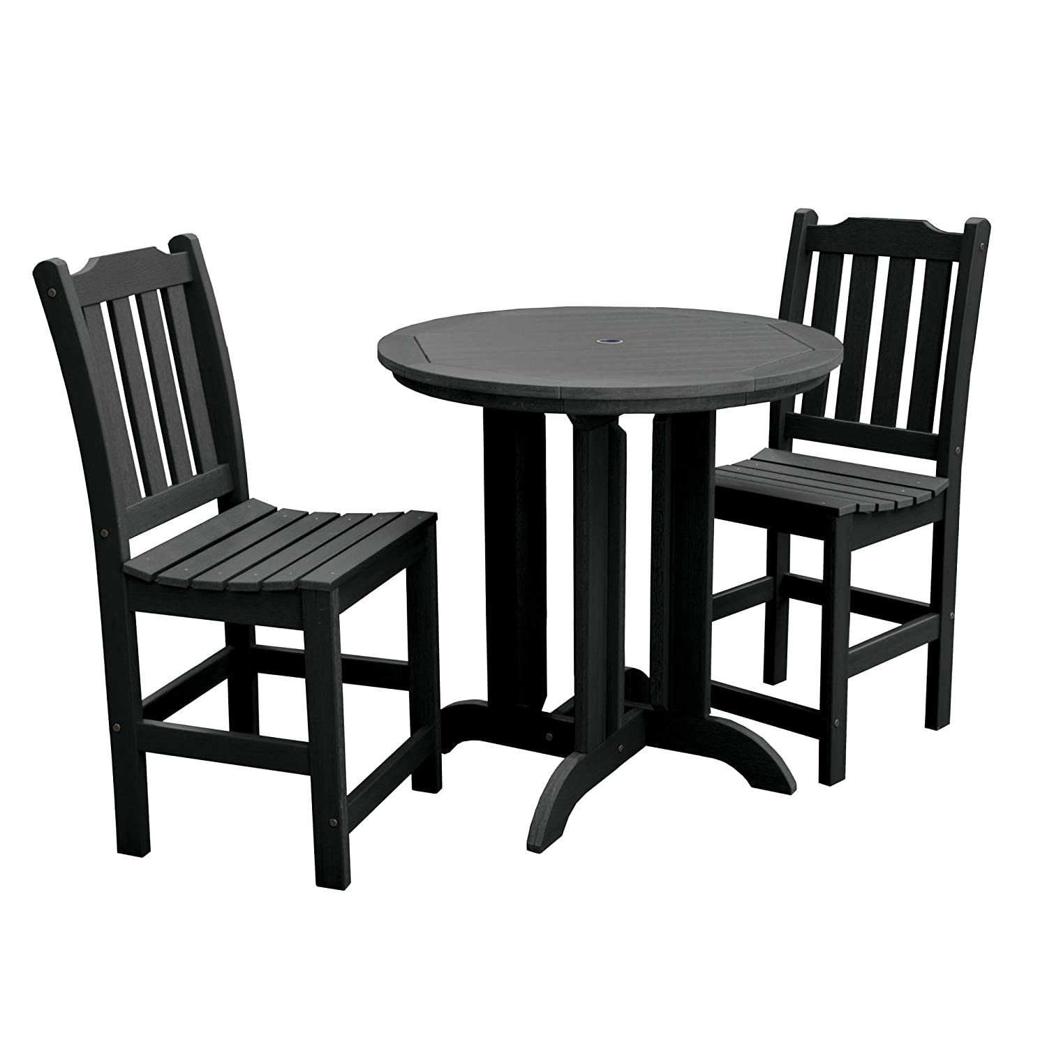 Highwood 3 Piece Lehigh Round Counter Height Dining Set Black Amazon In Garden Outdoors