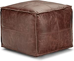 SIMPLIHOME Sheffield Square Pouf, Footstool, Upholstered in Brown Leather, for the Living Room, Bedroom and Kids Room, Transitional, Modern