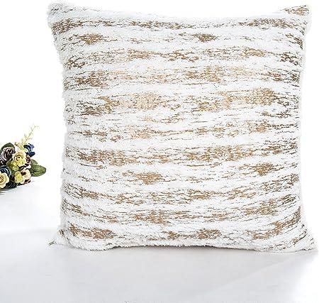 Funda de almohada de felpa LEEDY, funda de cojín para decoración del hogar para sofá de salón, coche, dormitorio con cremallera invisible, 45,7 x 45,7 cm, felpa, dorado, Medium