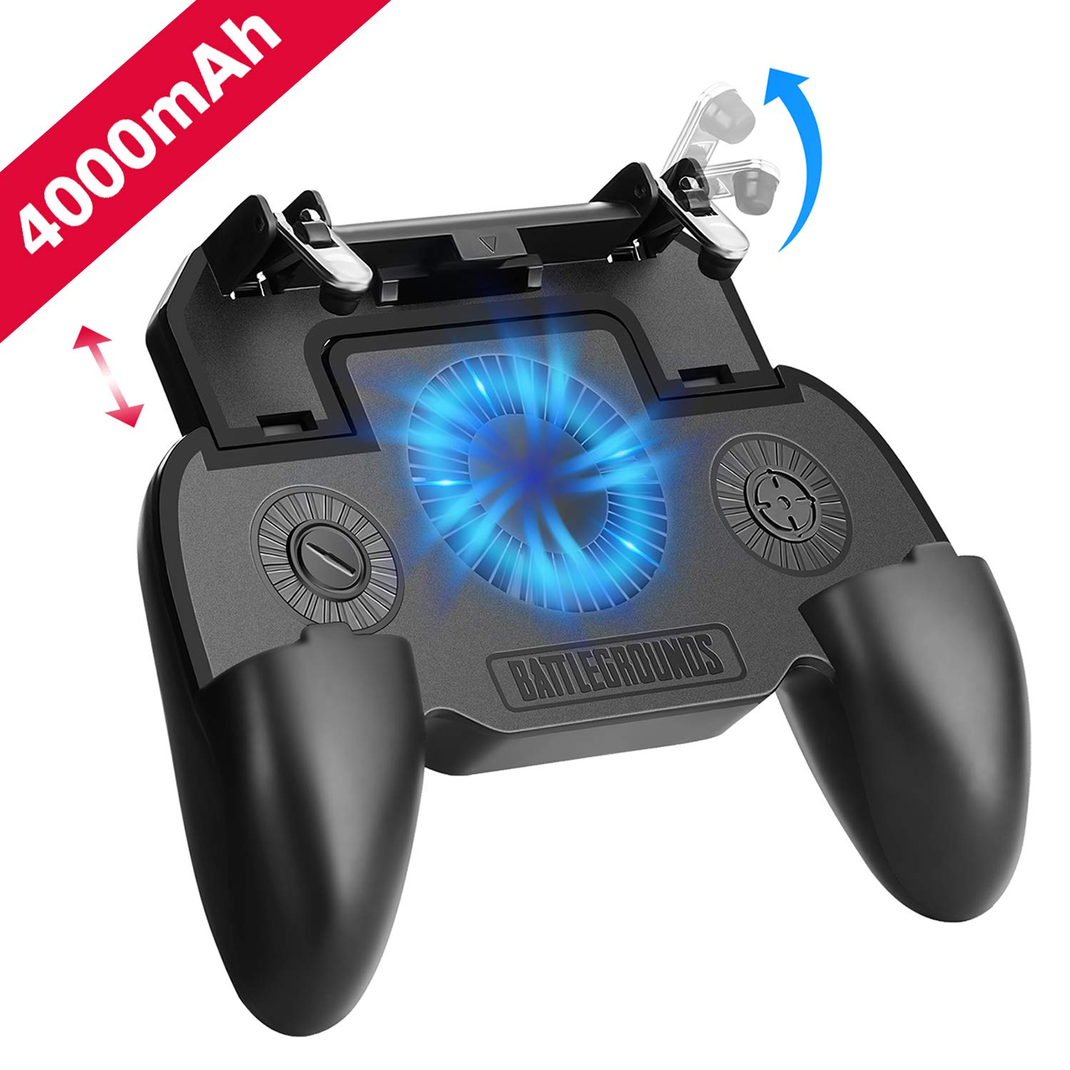 """Mobile Game Controller with 4000mAh Power Bank and Cooling Fan, PUBG Mobile Controller Gamepad L1 R1 Aim and Shoot Trigger, Joystick Remote Grip for 4.7-6.5"""" iPhone Android iOS Phone Accessories"""