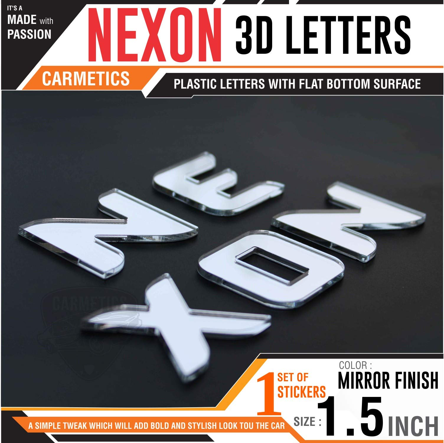 Carmetics nexon 3d letters for tata nexon mirror finish 3d sticker emblem accessories logo letters decals graphics mirror finish