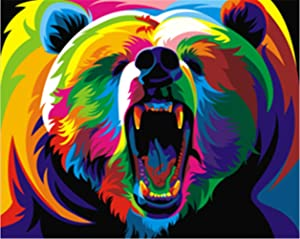 TianMaiGeLun New DIY 5D Diamond Painting Kit Crystals Diamond Embroidery Rhinestone Painting Pasted Paint by Number Kits Stitch Craft Kit Home Decor Wall Sticker - Colorful Bear, 25x30cm