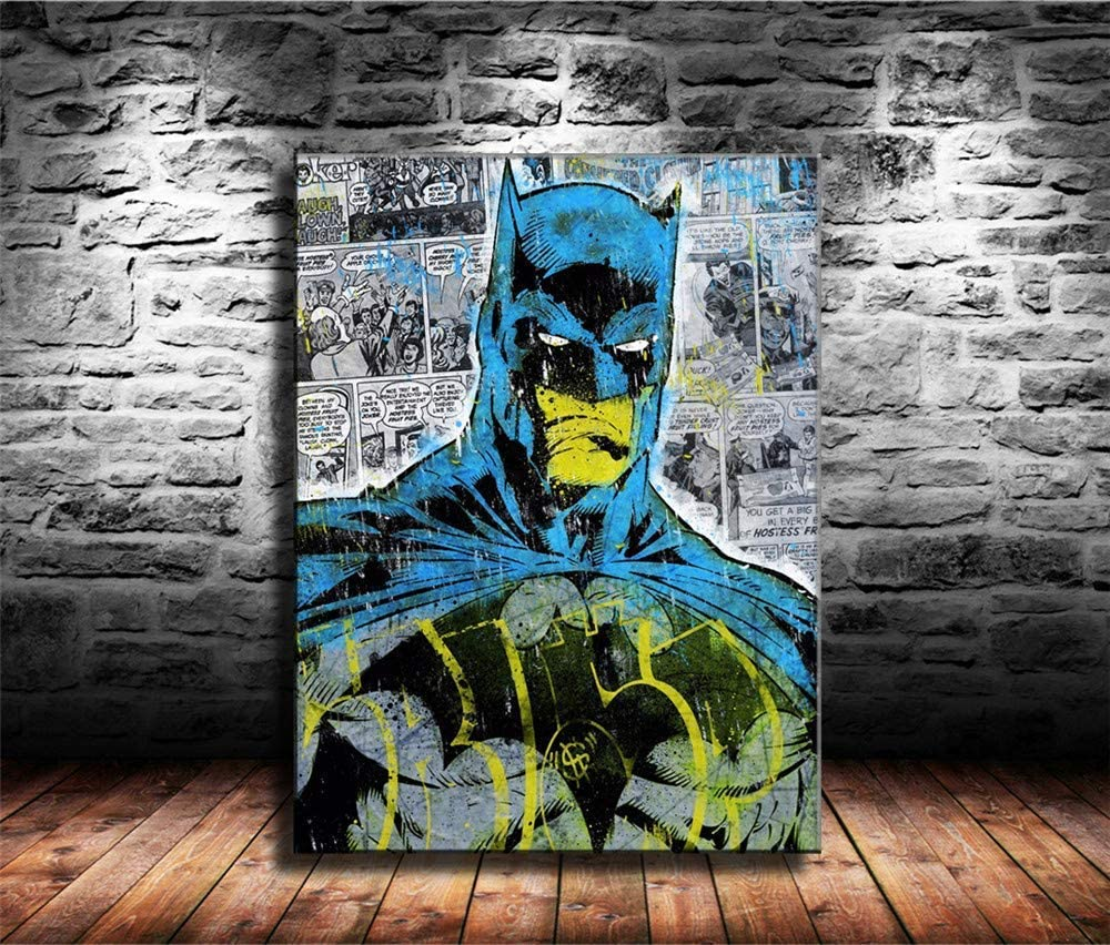 Amazon Com Batman Superman Wall Art Home Wall Decorations For Bedroom Living Room Oil Paintings Canvas Prints 131 Framed 18x24 Inch Posters Prints