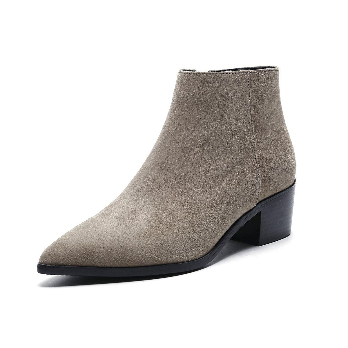 RUGAI-UE Herbst-und Winter-Mode-Elegante Spitzen Stiefel mit dicken seitlichen Reißverschluss-Stiefeln