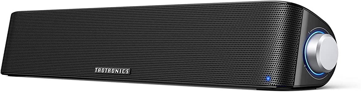 TaoTronics Computer Speaker, Bluetooth 5.0 Wireless PC Soundbar, Stereo USB Powered Sound Bar Speaker for Computer Laptop Smartphone Tablet Game Console, Aux Connection, Black