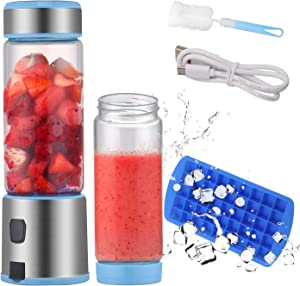 TOPQSC Portable Blender, Personal Blender 15oz USB Rechargeable 5200mAh, Smoothie Blender with Durable Glass and 2 Lids, Stainless blades 16500rpm, Perfect for Shakes, Smoothies and Baby Food, FDA/ BPA Free (Blue)