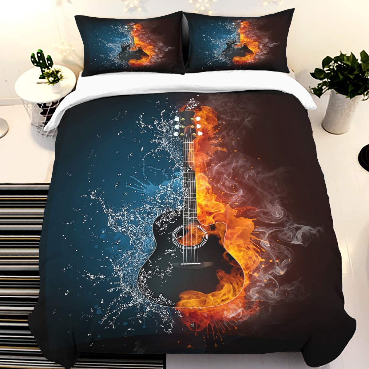 Electric Guitar Duvet Cover Soft Microfiber Bedding Set 3 Pieces