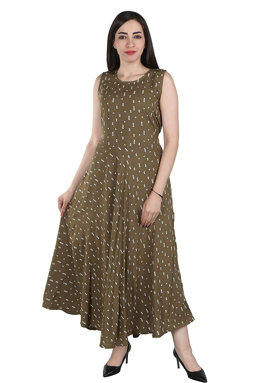 70cfa82381d3 Flamboyant Green Printed Reyon One Piece Middy Dress For Women ...