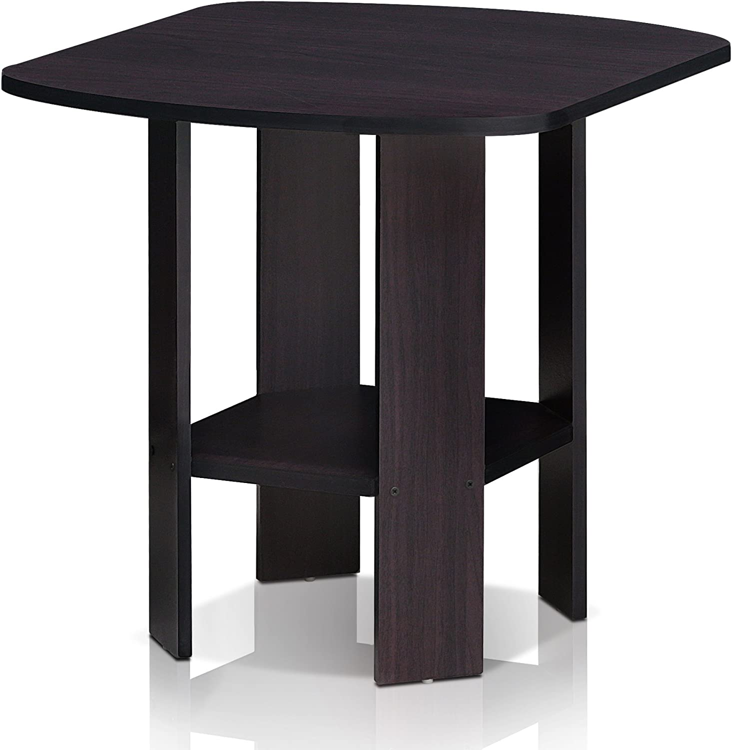 FURINNO Simple Design End/SideTable, 1-Pack, Dark Walnut