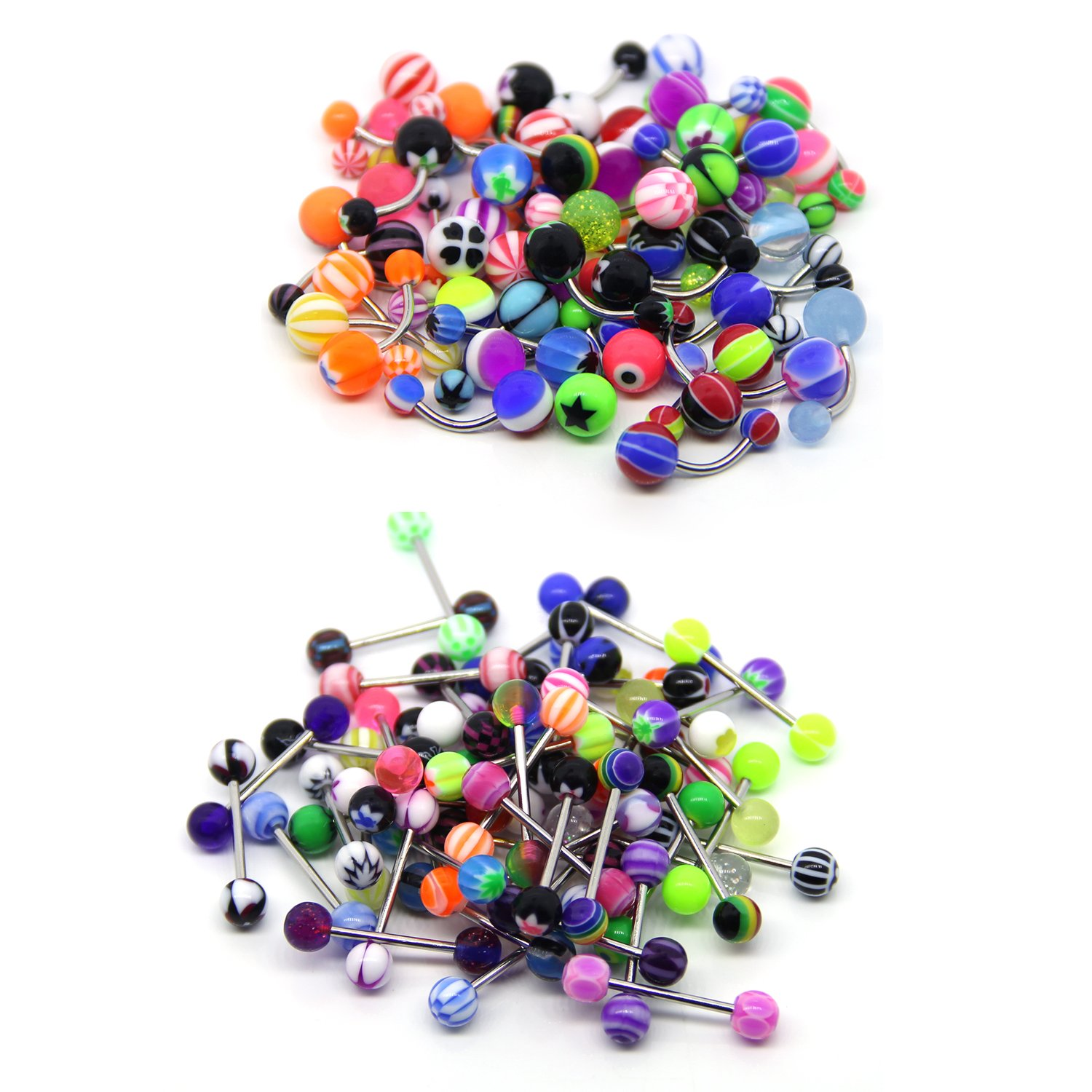 Coolrunner 100 Mix Pack 50Pc 14G Belly Button Rings and 50Pc 14G Tongue Ring Barbells Kit BGHS