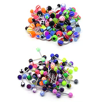 Coolrunner 100 Mix Pack 50pc 14g Belly Button Rings And 50pc 14g Tongue Ring Barbells Kit