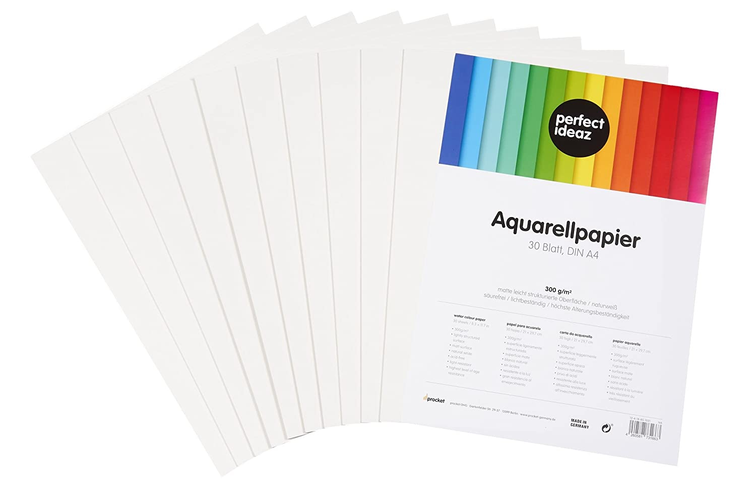 perfect ideaz 30 sheets DIN A4 watercolour paper 300g, white, art paper lightly textured & matt, watercolour paper for artists, pupils and students procket 14428498