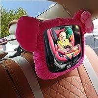 Espejo del asiento trasero del bebé, rotación de 360 ° 100% inastillable Espejo retrovisor del auto del bebé con correas ajustables y función de inclinación Vista clara del bebé en el asiento de aut