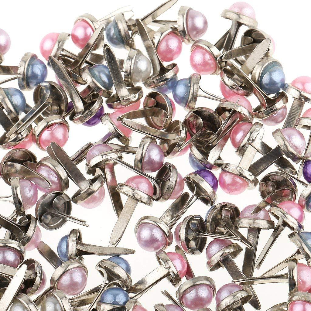 Tenlacum Lot de 200 Attaches parisiennes en m/étal avec Perles pour Scrapbooking et d/écoration 6 mm