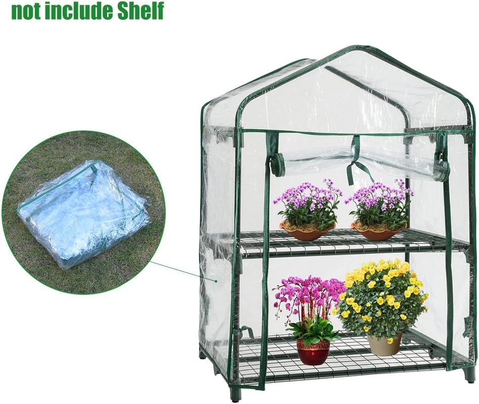 Mini invernaderos de plástico de repuesto para exteriores, PVC de 2 niveles para casa, plantas, invernaderos, cubierta de jardín (sin marco de hierro)
