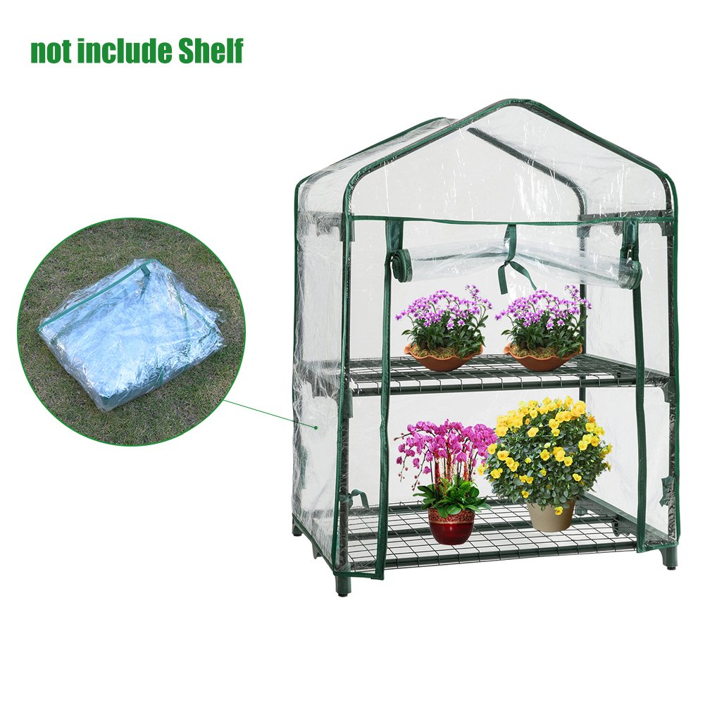 2-Tier Mini Garden Greenhouse Reinforced Cover for Propagating Seeds and Bringing-on Plants (Without Iron Frame) feiledi Trade