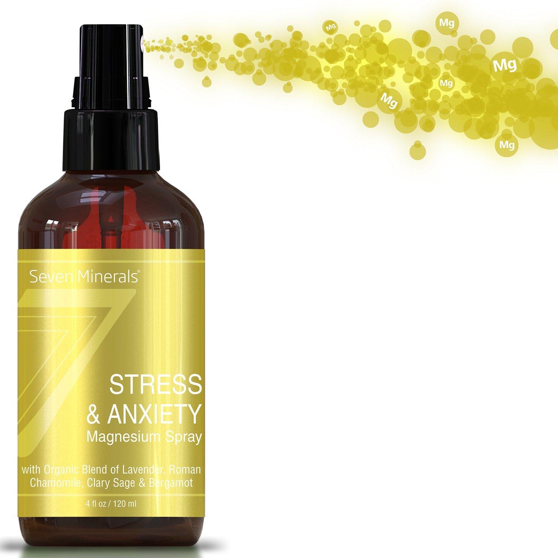 Seven Minerals Stress & Anxiety Magnesium Spray with Organic Blend of Lavender, Roman Chamomile, Clary Sage & Bergamot - 4 fl oz