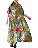 Yesno TH5 Women Long Maxi Loose Floral Chi-Pao Dress Large Swing Skirt 100% Cotton Chinese Traditional Frogs