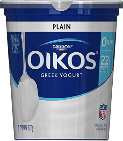 Dannon Oikos Greek Nonfat Yogurt Plain 32 Ounce Container Nonfat
