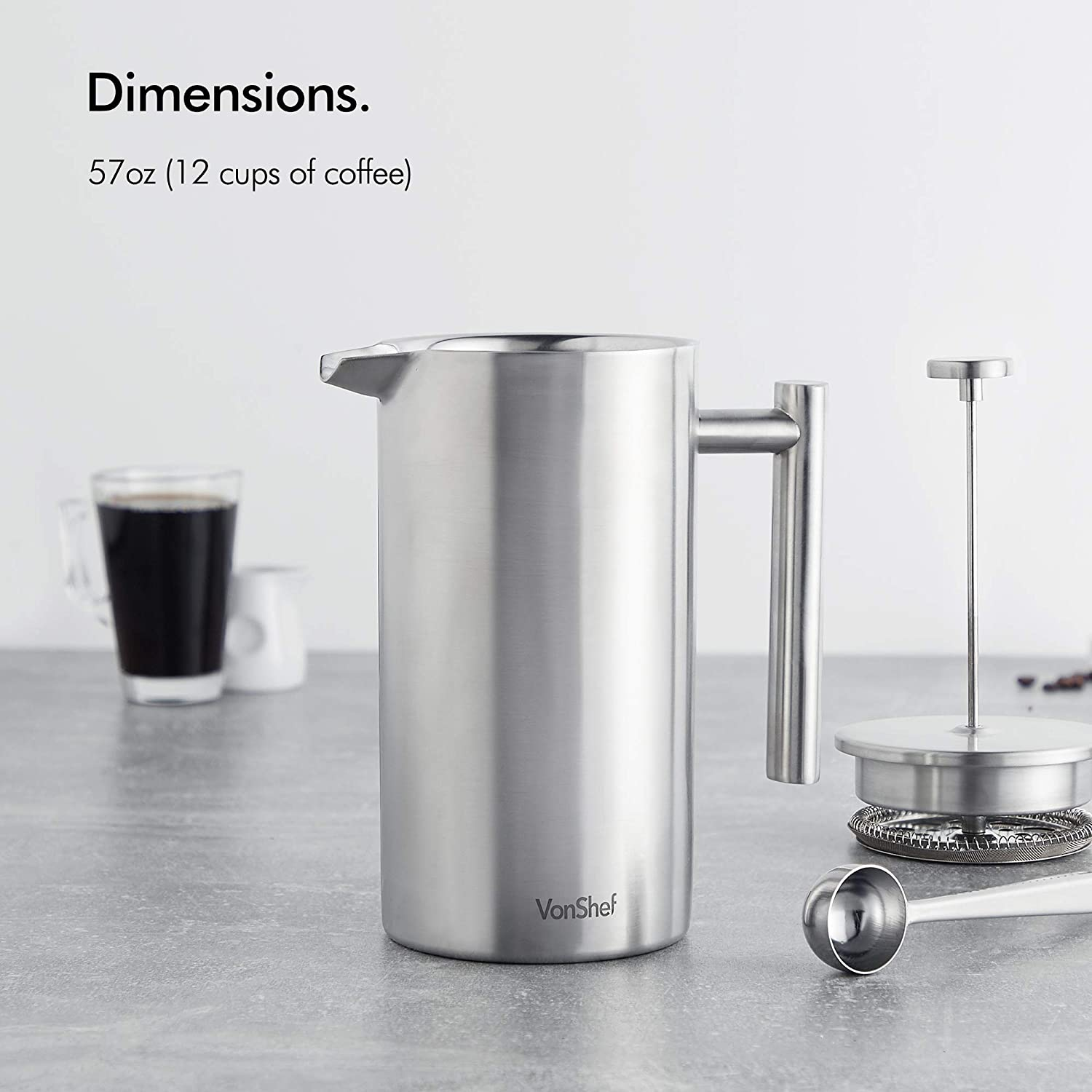 VonShef 12 Cup French Press Brushed Stainless Steel Double Walled Cafetiere Coffee Maker with Spoon and Filter