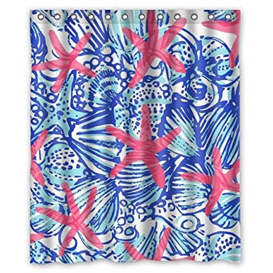 Image Unavailable. Image not available for. Color  I-Manggo Lilly Pulitzer  Sea Prints Starfish Custom Shower Curtain ... 7ca85ebc0498