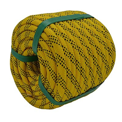 "YUZENET Braided Polyester Arborist Rigging Rope (3/8"" X 100') Strong Pulling Rope for Climbing Sailing Gardening Swings, Yellow/Black"