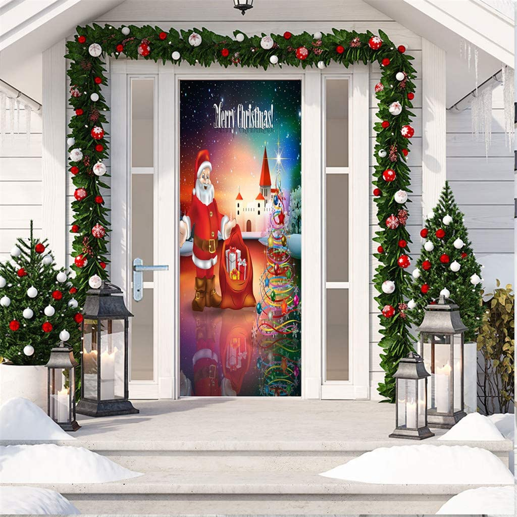 Coedfa Christmas Door Sticker Decoration 78.7x30.3 Inch Santa Claus Poster Cover Xmas Covers Stickers Poster Decal for Holiday Party Home Decor Ornament Front Door Bathroom Toilet Decals