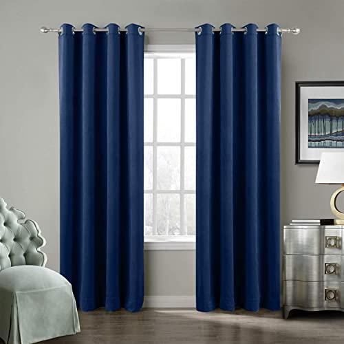 ChadMade Solid Matt Heavy Velvet Curtain Drape Panel Super Soft Handfeel Luxury Nickel Sapphire Blue 50Wx108L Inch Set of 2 Panels Birkin Collection Theater Bedroom Living Room Hotel